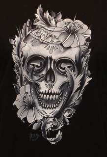 Styles & More TATTOO SHIRT Mexican Skull and Flowers