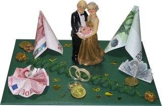 Geldgeschenk Goldene Hochzeit mit Goldpaar Dekozahl 50
