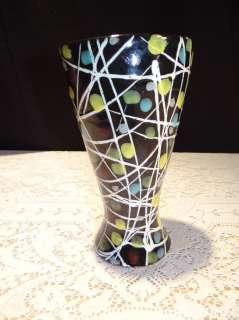 Gorgeous Mid Century Modern Italy Signed Black Spotted Art Vase Raymor