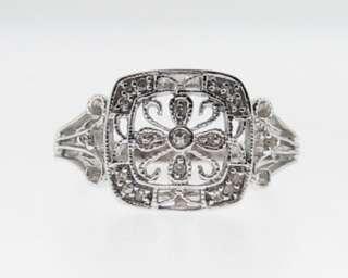 Estate Genuine Diamonds Solid 10k White Gold Ring Size 7.5 FREE Sizing