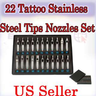 22 PCS Tattoo Stainless Steel Tips Kit for Grip Machine 1 Set FT RT DT