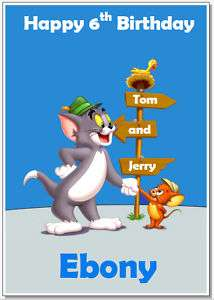 Tom and Jerry Blue/Pink Personalised Birthday Card A6