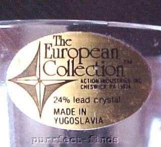 Crystal Wine Stem Glasses Goblets Set of 2 Vintage NIB