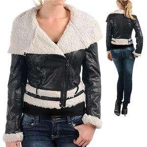 2X 3X Women Faux Leather Fur Motorcycle Biker Jacket Coat Black/ Brown