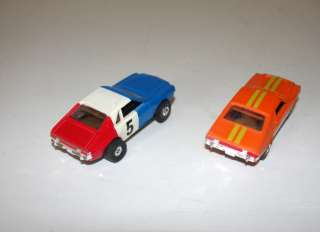 AURORA HO SCALE SLOT CARS AMX ORANGE + RED/WHITE/BLUE TRANS AM