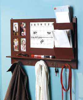 Wood Home Office Wall Organizer Calendar Dry Erase Mail Holder Hooks