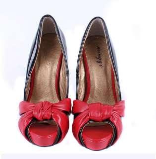 Heels Peep Toe Platform Pumps Shoes Sandals Black White 1lh