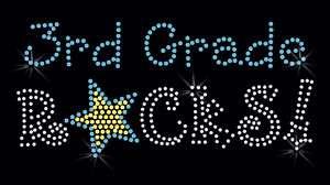 RHINESTONE Iron On Transfer 3rd GRADE ROCKS school star