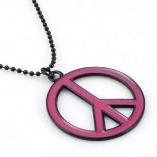 Oil Drip Hot Pink Peace Sign Pendant Necklace Charm TC1608HP