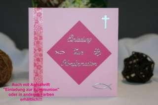 Einladungskarten Kommunion Konfirmation Fisch Kreuz Ichty   rosa