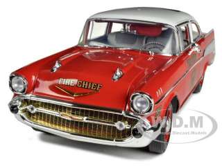 1957 CHEVROLET BEL AIR FIRE CHIEF 1/18 DIECAST MODEL CAR BY HIGHWAY 61