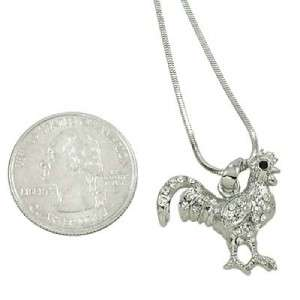 Silver Rooster Necklace Pendant Jewelry Gift Womens Ladies