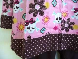 Girls Plus & Regular Pink Blue Corduroy HOODIE Jacket Coat Skulls
