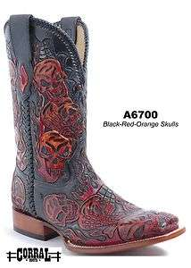 Corral Mens Cowboy Boots Genuine Leather Black/Red/Orange A6700 All