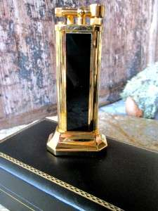 ALFRED DUNHILL Vintage Black Lacquer Gold Plated Table Lighter NEW and