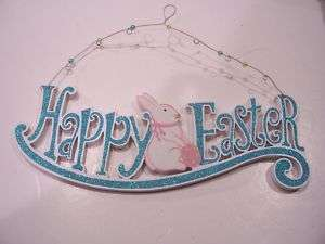 WOOD HAPPY EASTER BUNNY RABBIT SIGN DECORATION SPRING