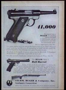 Vintage 1966 Ruger .22 Pistol Magazine Print Ad