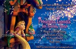 Tangled Invitations   Birthday Party Rapunzel Custom Invite Printable