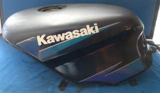 1995 Kawasaki Ninja 500 Gas Tank Black with Blue Stripe Fuel Petrol