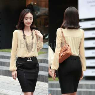New Korea Womens Chiffon Shirt Long Sleeve Tops Career Blouse T shirt