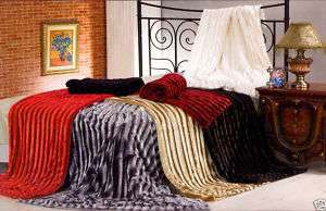 SUPER SOFT & SHINY PLUSH RIBBED FAUX FUR BLANKET THROWS 5055070096908