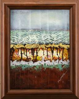 Brown Gold Green Blue Abstract Art FRAMED OIL PAINTING