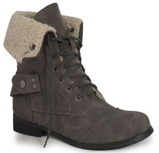 LADIES GREY ANKLE MILITARY ARMY COMBAT BOOTS SIZES 3 8