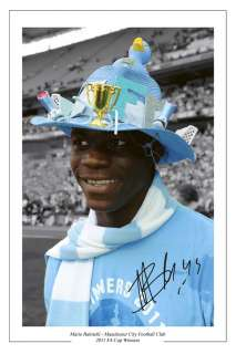MARIO BALOTELLI MAN CITY SIGNED FA CUP FINAL PRINT