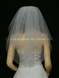 2T White Wedding Bridal Shoulder Cut Edge Tiara Veil