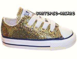 BABY* CONVERSE All Star GOLD GLITTER Trainers SIZE UK 4