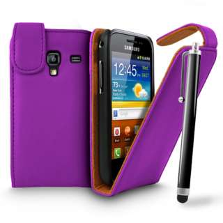LEATHER CASE COVER FOR SAMSUNG GALAXY ACE PLUS S7500 & STYLUS + FILM