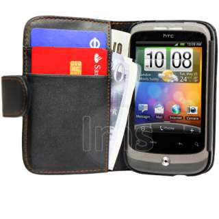 Magic Store   AIO BLACK WALLET LEATHER CASE FOR HTC WILDFIRE G8 +FILM