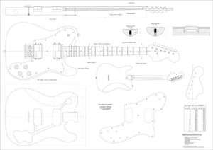 Guitar Plans Fender®Telecaster Deluxe FULL SCALE PLAN