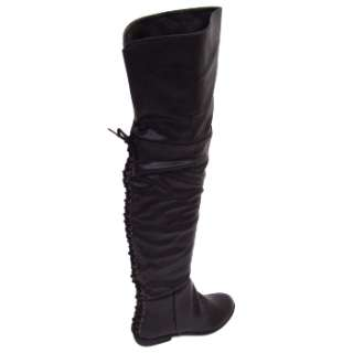 Paramount Shoes   WOMENS OVER KNEE HIGH THIGH BOOTS BLACK FLAT LADIES