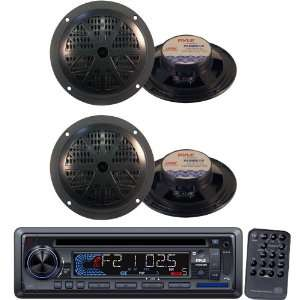 Pyle Marine Radio Receiver and Speaker Package   PLCD33MR