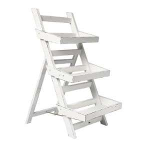 Vintage Shabby Chic White Wooden Folding Balcony Garden Ladder Small
