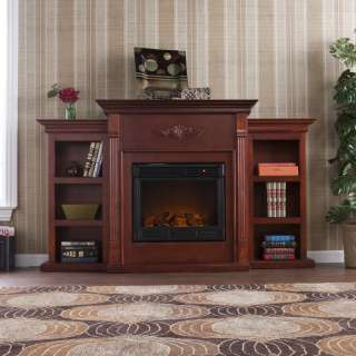 Mahogany ELECTRIC FIREPLACE Mantle w/ Bookcases TV Stand FE8547