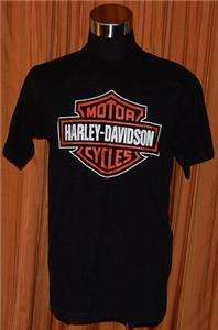 HARLEY DAVIDSON LOGO SHORT SLEEVE BLACK 100% COTTON HD T SHIRT MENS
