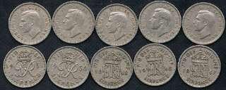 1947 to 1951 George VI British Wedding Sixpence Coins NO RES.