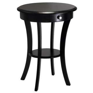 Sasha Black Wood Round Accent End Table Drawer & Shelf