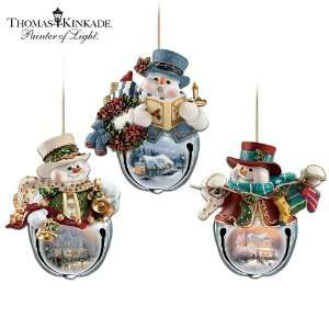 Thomas Kinkade Snow Bell Holidays Snowman Ornament Collection Sets Of