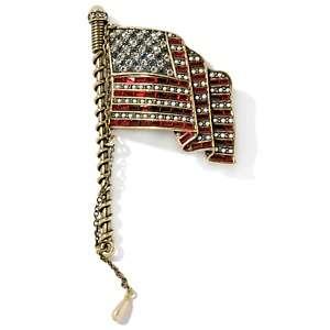 Heidi Daus Sparkling Stars and Stripes Flag Pin