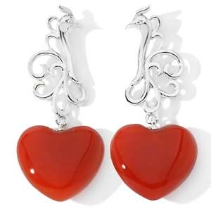 Art of Asia Red Agate Sterling Silver Heart Earrings