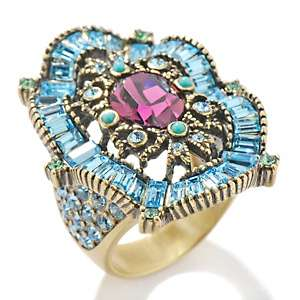 Heidi Daus Scalloped Baguettes Crystal Accented Oval Ring