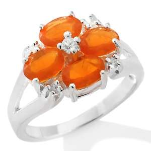33ct Fire Opal and White Zircon Sterling Silver Flower Ring