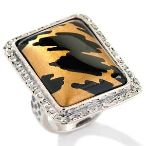 Amy Kahn Russell Painted Black Onyx Leopard Print Ring