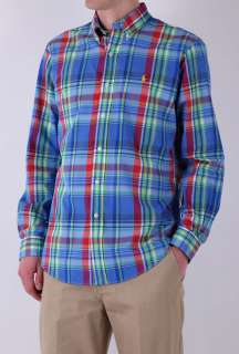 Blue and Green Plaid Cotton Shirt by Polo Ralph Lauren   Blue   Buy
