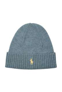 Sky Ribbed Merino Beanie by Polo Ralph Lauren   Blue   Buy Hats Online