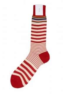 Paul Smith Accessories  Red Multi Stripe Trim Socks by Paul Smith