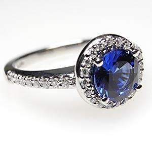 Halo Blue Sapphire & Diamond Engagement Ring Solid 14K White Gold